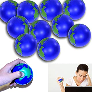 12 Pack Globe Stress Ball - Globe Stress Relief Activity Balls 12 Pack   Pressure Relieving Health Ball 12 PK   Therapeutic Relaxing Tension Release Squeeze Ball Set of 12 for All Ages