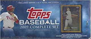 2009 TOPPS BASEBALL COMPLETE FACTORY SEALED SET 660 CARDS WITH 1957 EXCLUSIVE MICKEY MANTLE CHROME REFRACTOR CARD