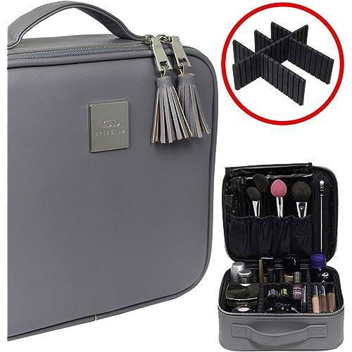 ea245018e4a97a Professional Travel Makeup Bag - Waterproof PU Leather Organizer and Beauty  Storage - Elegant Make Up