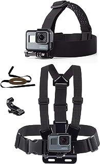 micros2u Set de Correas de Soporte para Pecho y Cabeza compatibles con cámaras de acción GoPro Hero. Incluye correa para la barbilla