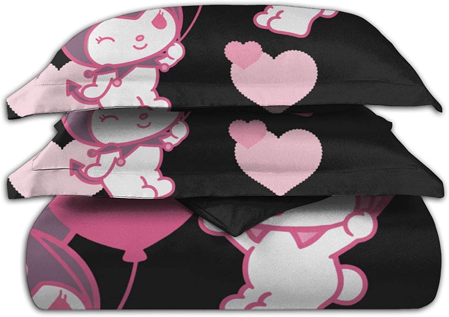 Dawiine Kuromi My Melody Bedspread Quilt Cover 3 Pieces of Bedding Personalized Super Soft Sheet 86inch X70inch