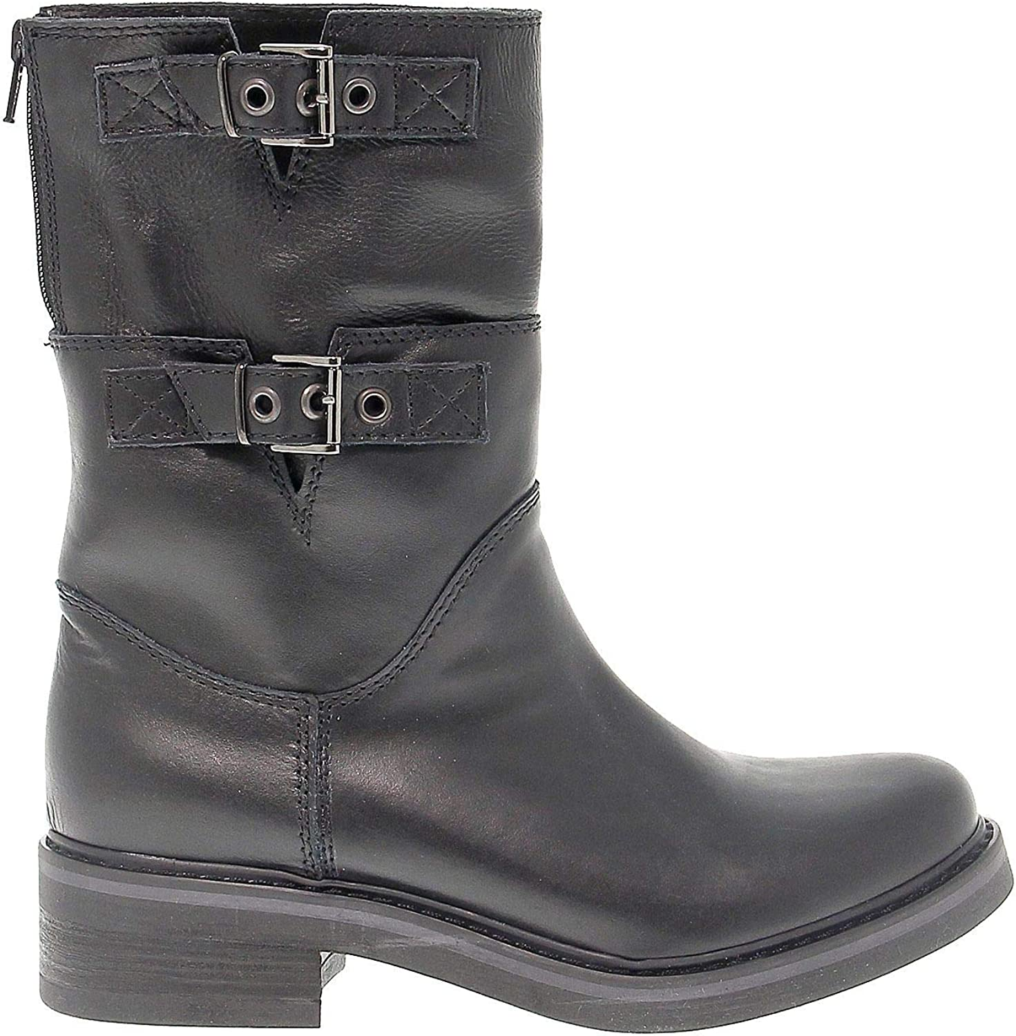 SAN CRISPINO Women's 234BLACK Black Leather Ankle Boots