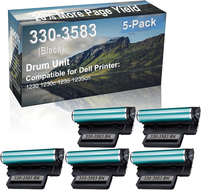 5-Pack (Black) Compatible 1230 1230c 1235 1235cn Printer Drum Unit Replacement for Dell 330-3583 Drum Kit