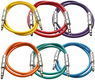 """SEISMIC AUDIO - SATRX-3-6 Pack of Muliple Colored 3` 1/4"""" TRS to 1/4"""" TRS Patch Cables"""