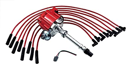 A-Team Performance HEI Distributor and Spark Plug Wires Set Straight Boot Red 8mm Kit Compatible with BBC Chevy Big Block Chevrolet 396 454 502