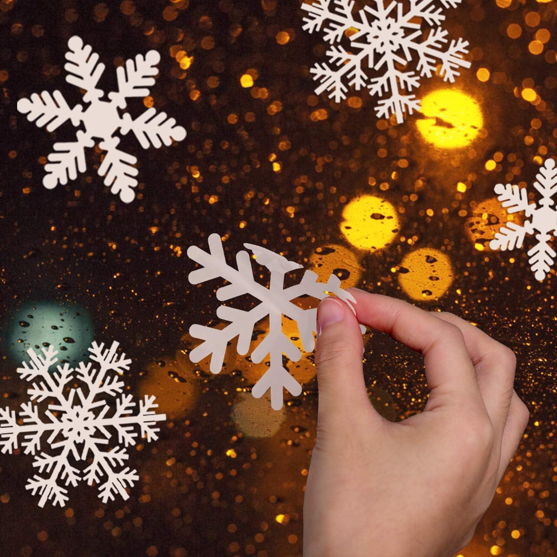 PVC sin Adhesivo para Ventanas Vidrios Navidad Decoraci/ón Blanco KATELUO 162 Pegatinas Decorativas de Copo de Nieve para Adorno Navide/ño Accesorio de Decoraci/ón para Navidad