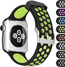 Mosstek Compatible with Apple Watch Sport Band 38mm 40mm 42mm 44mm, Silicone Breathable Replacement Strap Bands Compatible with iWatch Apple Watch Series 5 4 3 2 1 Sport Edition Men Women