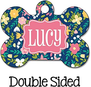 Girl Dog Tag, Floral Flag Tag, Personalized Pet Tag, Custom Pet Tag, Dog ID Tag, Personalized Dog Tag, Dog Name Tag, Chic Dog Tag, Floral
