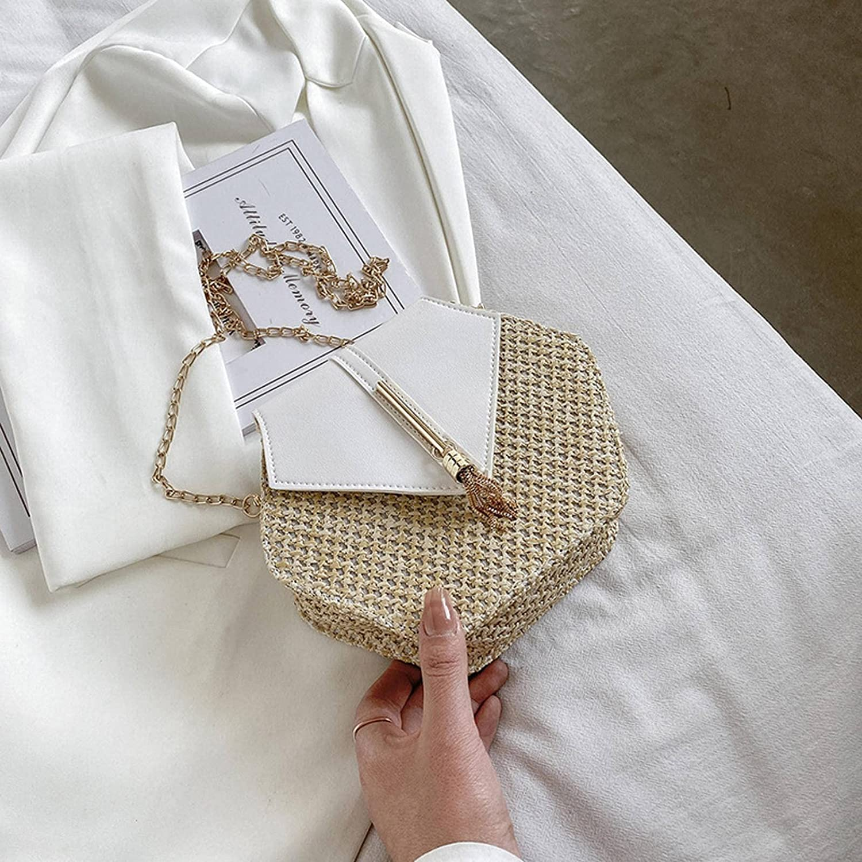 NC Summer Lady Messenger Bag Straw Woven, PU Leather Hexagonal Bag Shoulder Bag Wallet