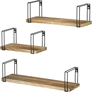 SRIWATANA Rustic Floating Shelves, Wood Wall Shelves Set of 3, Wall Mounted Storage Shelves for Bedroom, Living Room, Kitchen, Bathroom