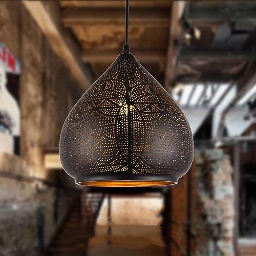 Bcyem Rétro Métal Suspension E27220V 40W lustre rustique Lampes pour chambre bar salon salle à hommeger (sans ampoule)