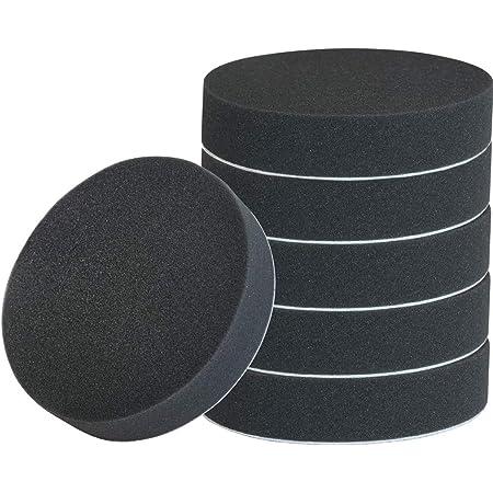 電動ポリッシャー用 スポンジバフ マジックテープ式 極細用~超微粒子用 高密 吸水が強い 6個セット (ブラック)