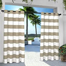 Exclusive Home Curtains Indoor/Outdoor Stripe Cabana Window Curtain Panel Pair with Grommet Top, 54x96, Taupe, 2 Piece
