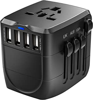 Travel Adapter, 2400W International Power Adapter, Universal Adapter with 4 USB Ports, Perfect for UK, EU, AU, US, Over 15...