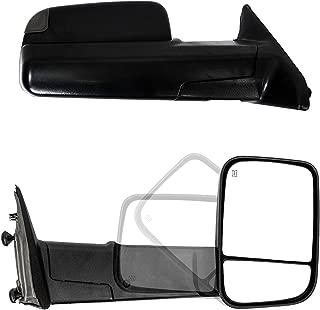 Paragon Towing Mirrors for 2009-18 Dodge Ram 1500 & 2010-18 RAM 2500/3500 - Powered, Heated, Turn Signals, Puddle Light, Temp Sensor - Black Pair Set