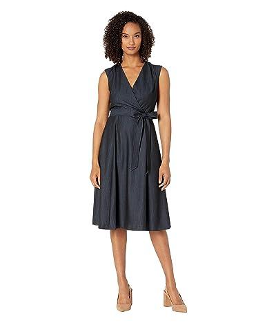 Calvin Klein A-Line Denim Dress w/ Tie Belt (Blue) Women