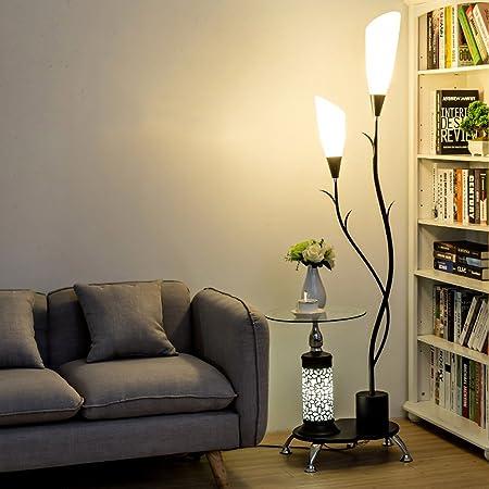 LOFAMI Lampadaire moderne, avec étagères en verre, 2 abat-jour acrylique blanc léger, lampe de stands de décoration en métal pour la chambre à coucher de salon, H171CM (Color : Black)