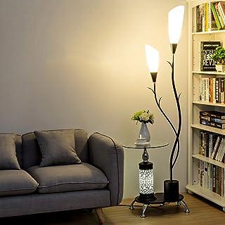 LOFAMI Lampadaire moderne, avec étagères en verre, 2 abat-jour acrylique blanc léger, lampe de stands de décoration en mét...
