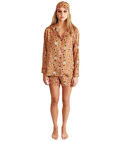 Plush Floral Cheetah Pajama + Eyemask Set