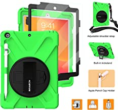 BRAECNstock New iPad 10.2 Case 2019,[Built-in Screen Protector][with Pencil Holder][Pencil Cap Holder] Heavy Duty Shockproof with Kickstand/Hand Strap Case for iPad 7th Generation 2019 10.2