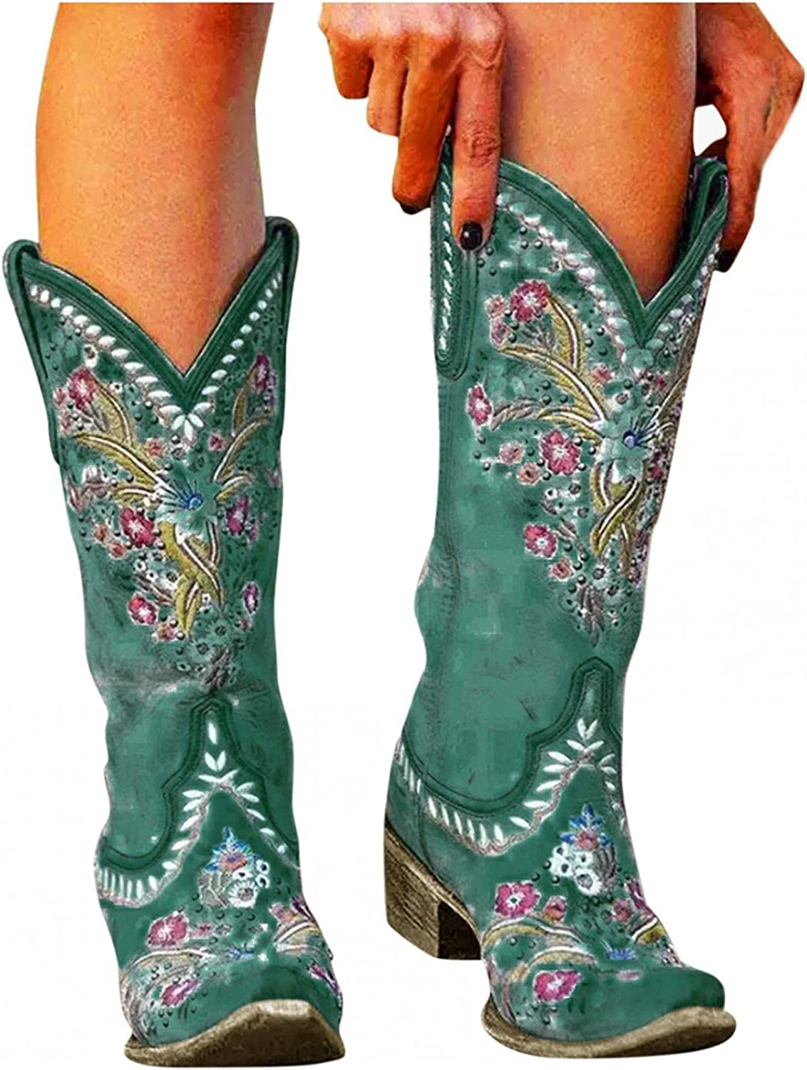 Hbeylia Vintage Western Cowboy Cowgirls Boots For Women Ladies Boho Retro Flower Embroidered Pointed Toe Chunky Block Mid Heels Wide Mid Calf Knight Riding Boots Bohemian Dress Short Ankle Booties
