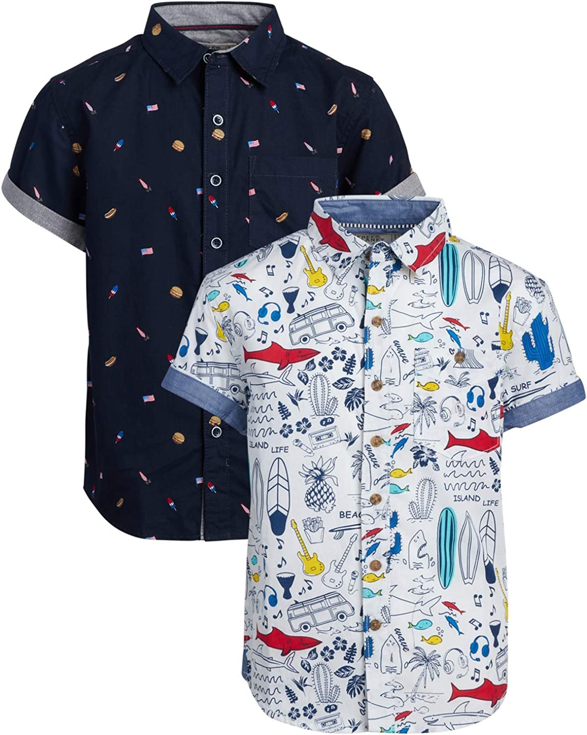 Free Planet Boys' Shirt - Casual Short Sleeve Button Down Collared Shirt (2 Pack)