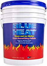 Blue Heat Snow and Ice Melter Rock Salt - 50lbs Bucket - Heat Generating Pellets - Concrete and Surface Safe - Industrial Grade - Home and Commercial Use - Blue Tint - Works in -25° F