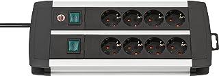 Brennenstuhl Premium-Alu-Line, Steckdosenleiste 8-fach / Steckerleiste aus hochwertigem Aluminium mit 2 Schaltern für je 4 Steckdosen und 3m Kabel, Made in Germany silber/schwarz