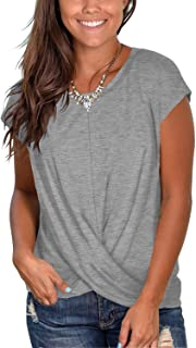 Women's Short Sleeve Round Neck T Shirt Front Twist Tunic Tops Casual Loose Fitted