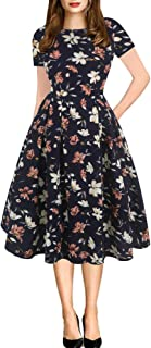 Women's Vintage Patchwork Pockets Puffy Swing Casual Party Dress OX165 - coolthings.us