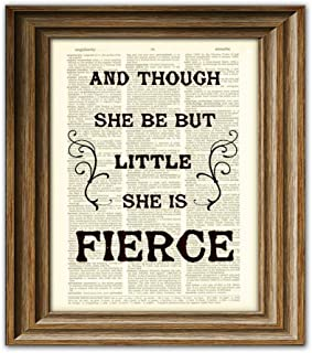 Though She Be But Little She Is Fierce Shakespeare Quote Upcycled Vintage Dictionary Page Book Art Print