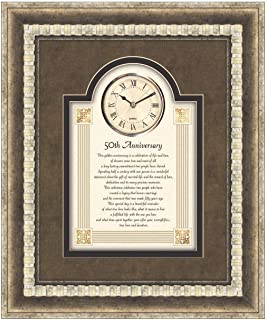 CB Gift Heartfelt Collection-Large 3D Wall Clock, 15 x 18-Inches, 50th Anniversary