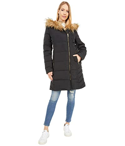 Cole Haan 36 Quilted Exposed Zip Front Coat with Faux Fur Trim (Black) Women