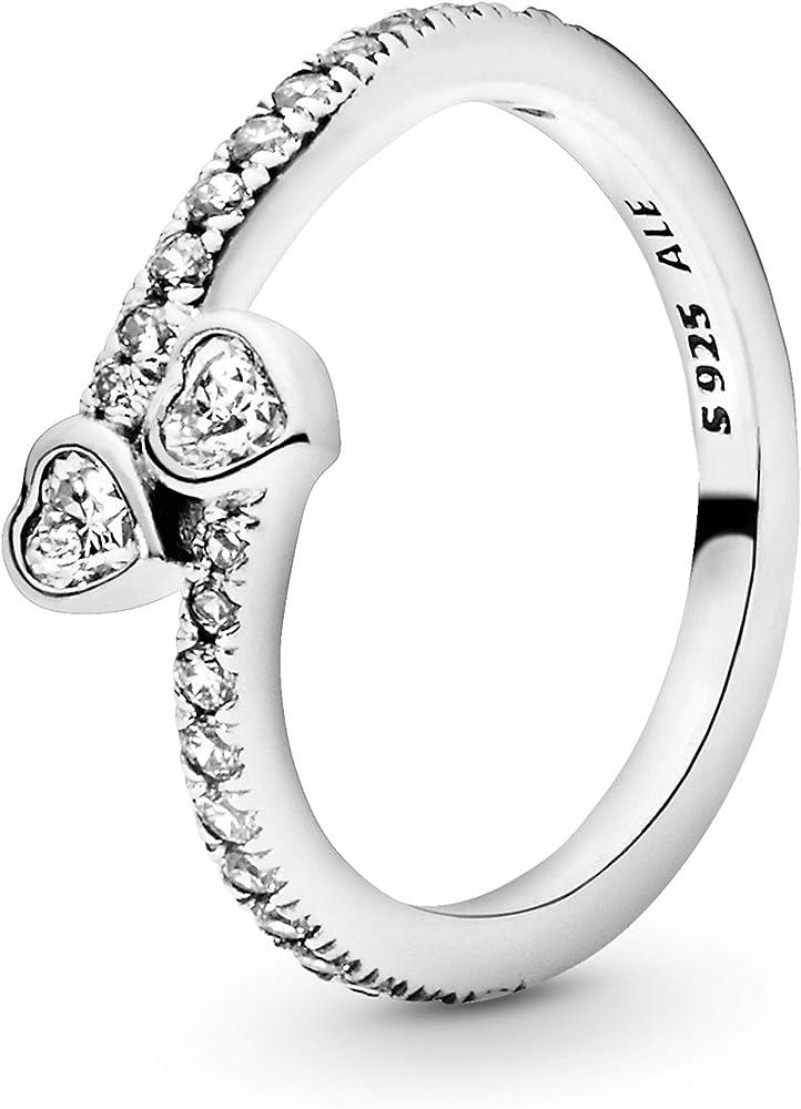 Pandora anello due cuori scintillanti da donna  in argento sterling 925,impreziosito da pietre di zirconia 191023CZ