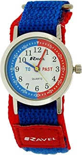 Ravel Time Teacher Boys Blue/Red Nylon Easy Fasten Watch + Telling Time Award