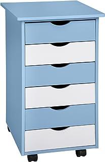 TecTake Commode 65 x 36 x 40 cm Caisson à Roulettes - diverses couleurs au choix - (Bleu | No. 400925)