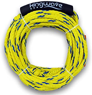 Kingwave Tube Tow Rope, 2,375 Pounds Breaking Strength Braided Tube Tow Cord, 1-2 Rider Ropes for for Water Skiing, Wakebo...