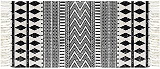 House Cotton Braided Black&Cream Bohemian Rug Washable Decorative Porch Doormat Hand Woven Tassel Rug,2x4.3 Feet