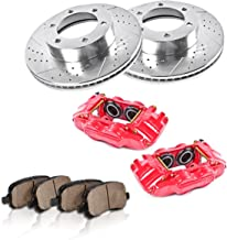 CCK11988 FRONT Powder Coated Red [2] Calipers + [2] Rotors + Quiet Low Dust [4] Ceramic Pads Performance Kit