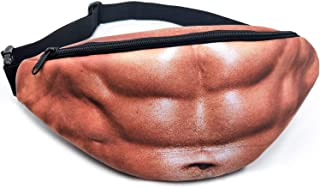 Dad Bag Fake Muscles Fanny Belly Waist Pack - Gag Gifts Christmas, White Elephant Gifts Exchange Waist Pack Unisex Fanny Pack Waist Stash with Adjustable Belt