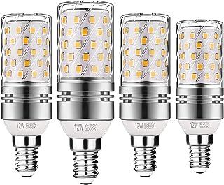 Gezee LED Plata Maíz Bombillas 12W E14 3000K Blanco Cálido LED Candelabros bombillas, 100 W Bombilla Incandescente Equivalente, 1200lm, LED vela Bombillas No regulables(4 Packs)