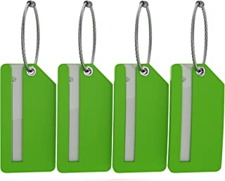 Small Luggage Tags - Fully Bendable Rubber Tags - Privacy Cover & Metal Loop - (4pk)