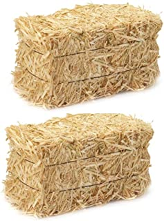 LJIF Thanksgiving Fall Harvest Autumn Fall Decorations, 3.5 in, 4 in. Straw Bales, 2 1/2-Inch-by-1 1/4-Inch-1-Inch Bale Bundle of 2