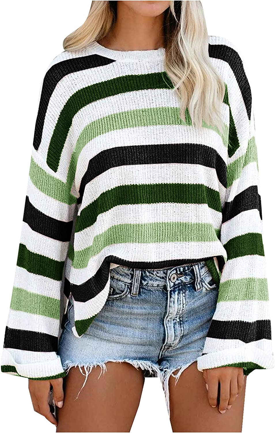 POLG Womens Loose Long Sleeve Knit Pullover Sweater Tops Blouse Soft Off Shoulder Shirt Stripe Color Block Sweater