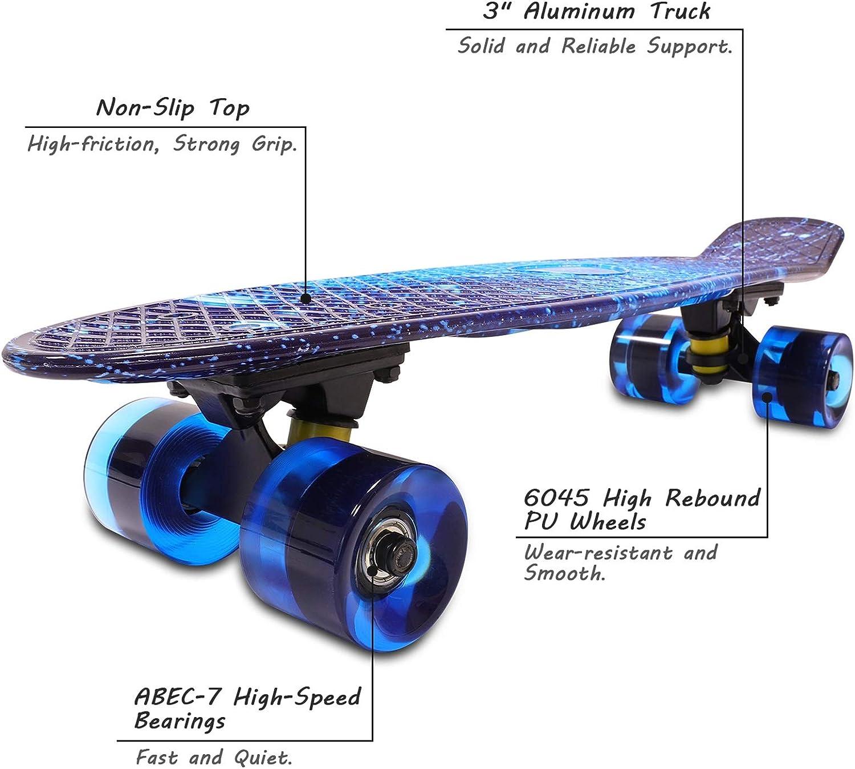 Solomone Cavalli Retro Skateboards Mini Board Style Design Complete 22 Inches Plastic Cruiser Board