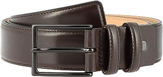 Nuvola Pelle Mens Full Grain Leather Belt Made in Italy Soft Calfskin Elegant Belt H 34mm with Metal Buckle of 125 cm Dark Brown