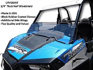 "Polaris RZR XP 1000 / Turbo (2014-2018) Half Windshield - 1/4"" Thick, Black Clamps, Side Wings, Fits 2 Door and 4 Door"