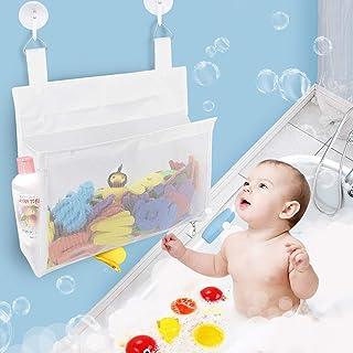 Bath Toy Organizer Mesh Bag with Suction & Sticker Hooks,Bottom Zippered Bathtub Shower Toy Organizer Multiple Ways to Han...