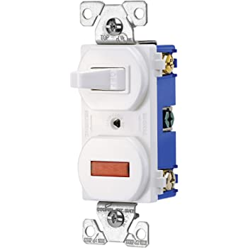 EATON Wiring 277W 15-Amp 120-volt Combination Single Pole Toggle Switch and  Pilot Light with Back and Side Wiring, White - Wall Light Switches -  Amazon.comAmazon.com