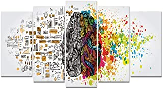 Welmeco Large 5 Pieces Sketch of The Use of Left and Right Brain Digital Painting Canvas Prints Inspirational Science Poster for School Classroom Office Home Decor Ready to Hang (01 White)